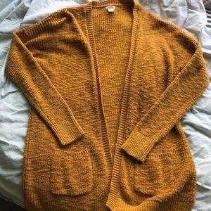Long Knit Mustard Cardigan